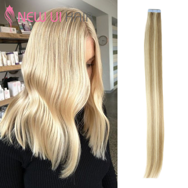 Tape In Human Hair Extensions Salon Style 613 18 Remy Hair Adhesive Tape Extensions Straight 20pcs 18 20 22 New Ui Hair